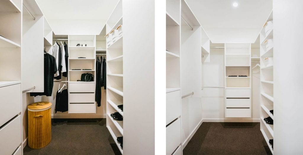 Wardrobe organiser built-in white melamine with drawers, shelves and hangers